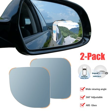 TSV 2Packs Car Wide-angle Adjustable Convex Blind Spot Mirror Side Rearview Security