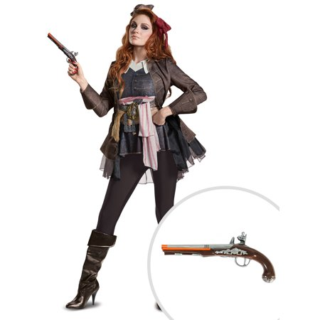 Pirates of the Caribbean 5 Captain Jack Female Deluxe Adult Costume and Jack Sparrow Pistol (Pirates Of The Caribbean Jack Sparrow Costume)