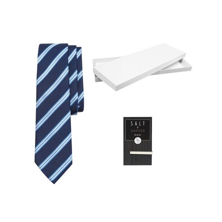 Salt & Dapper Men's Woven Silk Luxury Tie With Tie Bar & Giftbox - Navy