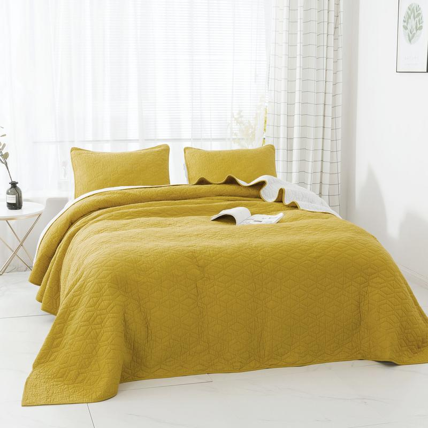 Yellow Oversized Ultra Plush Cozy Soft Comforter Set Pop of Color Modern Bedding