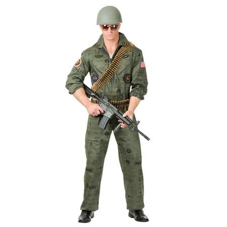 Adult Men's Top Gun Army Print Fighter Pilot Jumpsuit Costume