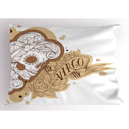 Zodiac Virgo Pillow Sham Gothic Mexican Female Portrait Sugar Skull Horoscope Tattoo, Decorative Standard King Size Printed Pillowcase, 36 X 20 Inches, Brown Pale Brown and White, by Ambesonne