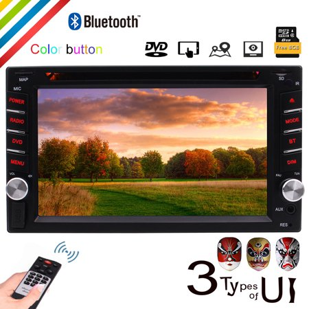 Touch Lcd Screens - EinCar Windows CE Double Din Stereo in Dash Car DVD Player GPS Navigation with 6.2 LCD Touch Screen Support Bluetooth/USB/SD/HD/FM/AM RDS Radio/Subwoofer/1080P Video/Steering Wheel Control
