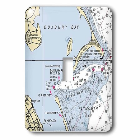Baby Switchplate (3dRose Print of Plymouth Bay Nautical Chart , Single Toggle Switch )