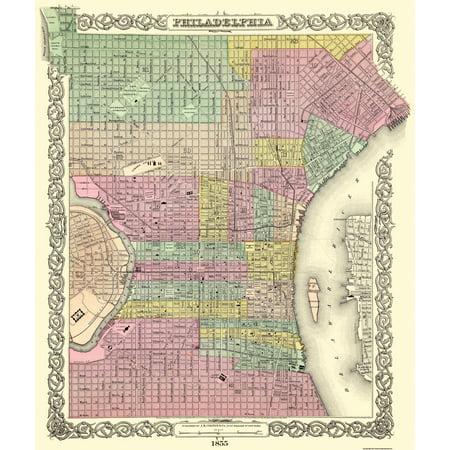 Old City Map - Philadelphia Pennsylvania - Colton 1855 - 23 x 27.19