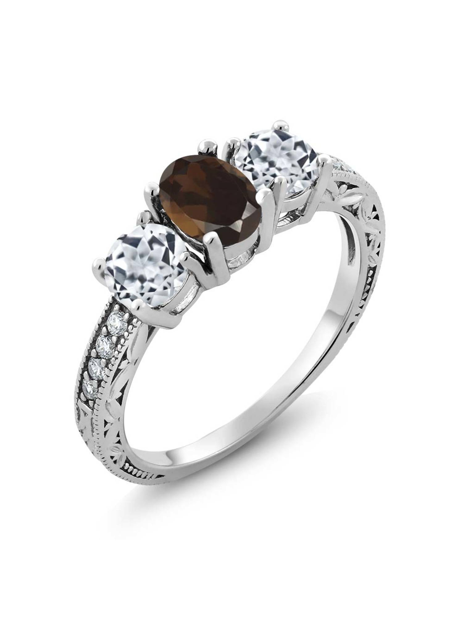 Gem Stone King 1.87 Ct Oval Brown Smoky Quartz White Topaz 925 Sterling Silver Ring
