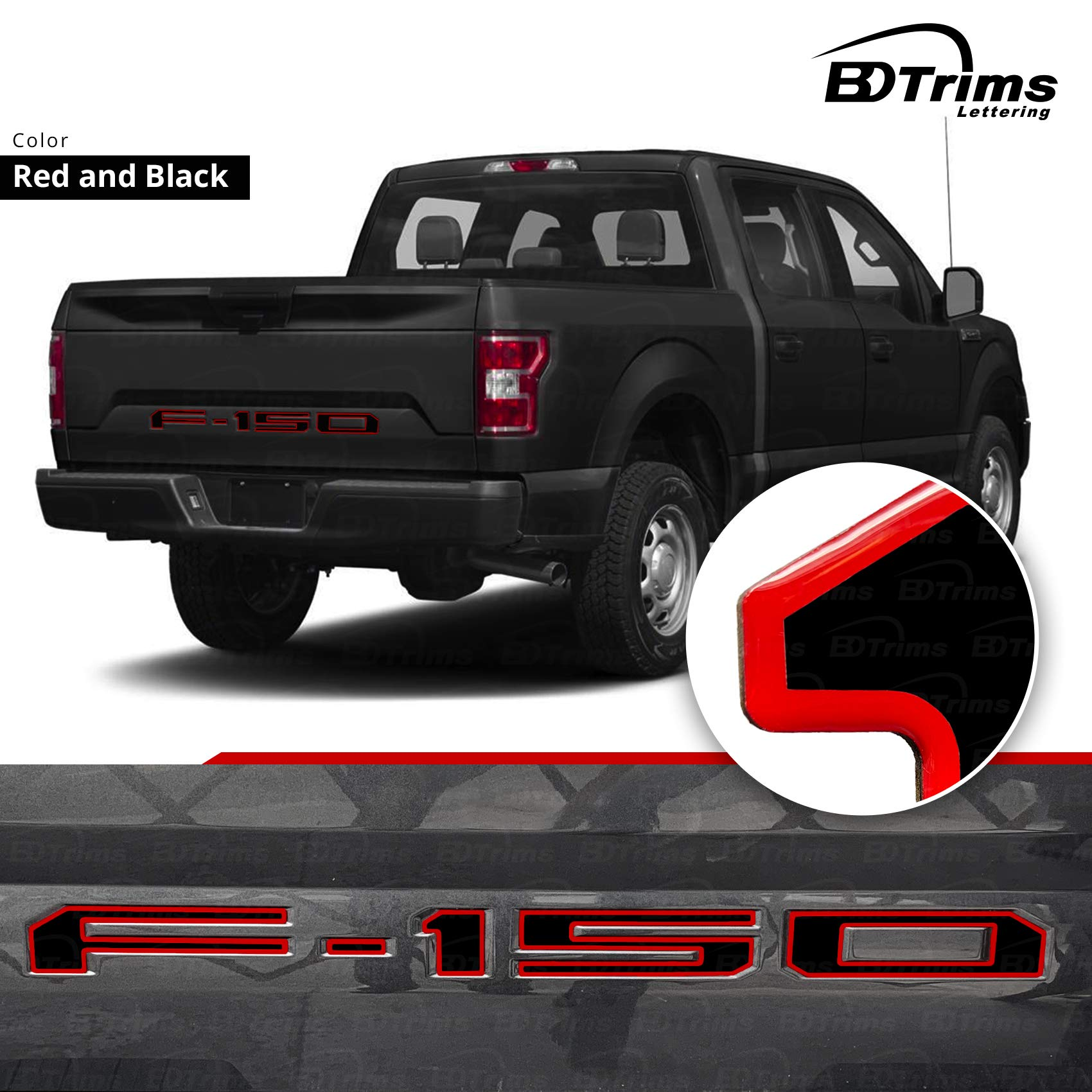 Domed Raised Tailgate Letters Inserts fits 2018 2019 F-150 Models BDTrims Red//Carbon