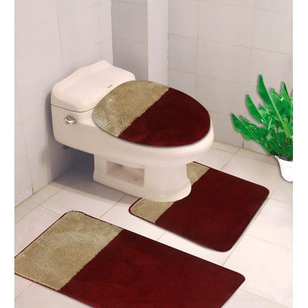 burgundy toilet seat cover. 3 PC  7 2 Tone Burgundy Gold HIGH QUALITY Jacquard Bathroom Bath