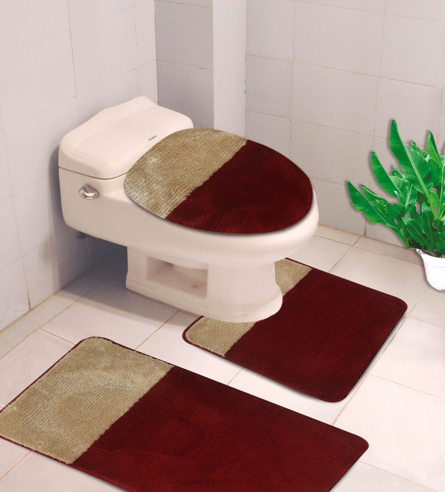 "3-PC (#7) 2 Tone Burgundy/Gold HIGH QUALITY Jacquard Bathroom Bath Rug Set Washable Anti Slip Rug 18""x28"", Contour Mat 18""x18"" and Toilet Seat Lid Cover 18""x19"" with Non-Skid Rubber Back"