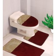 gold toilet seat cover. 3 PC  7 2 Tone Burgundy Gold HIGH QUALITY Jacquard Bathroom Toilet Lid Covers