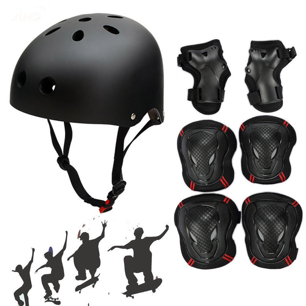 Helmet with 6pcs Elbow Knee Wrist Pads Outdoor Skating Skateboard Cycling Sports for Youths Kids Children Teen Protective Gear Safety Scooter