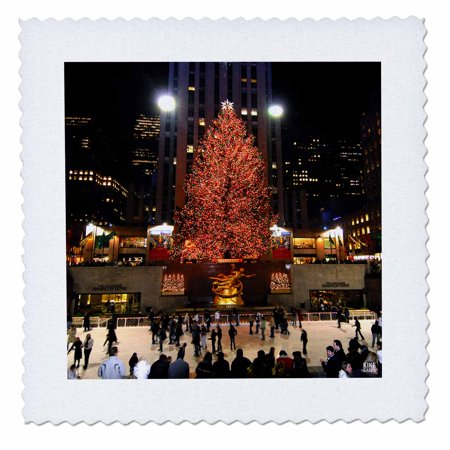 3dRose Christmas lights at Rockefeller Center in New York - Quilt Square, 10 by 10-inch ()