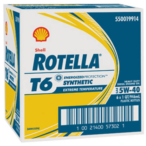 Shell Rotella T6, 5W40 Motor Oil, 1-quart, (6-pack)