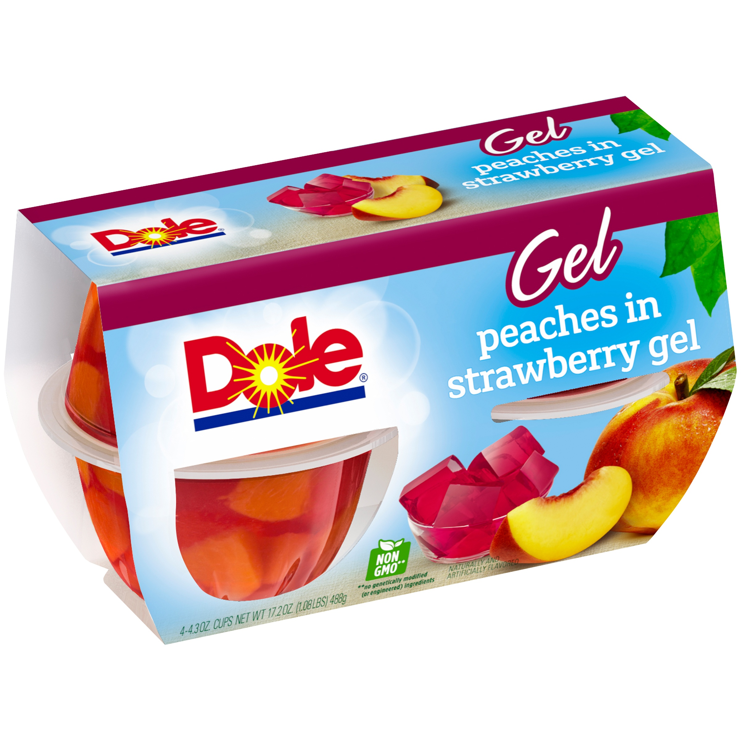 Dole Peaches in Strawberry Gel, 4.3 oz, 4 count