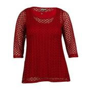 JM Collection Women's Lace Top (0X, Deep Black)