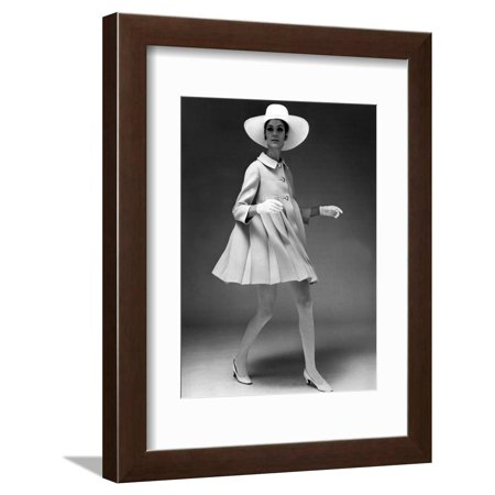 Presentation on February 19, 1967 of Fashion by Jacques Heim, Paris : Dress Coat with Hat Framed Print Wall Art