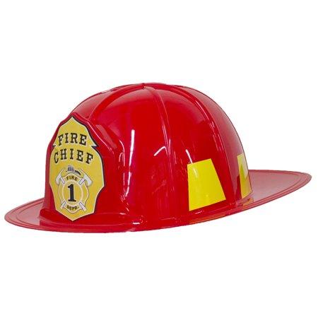 Costume Accessory - Plastic Red Fireman Fire Chief Helmet