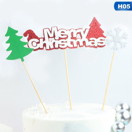 Michellem Merry Christmas Cake Topper Christmas Decorations For Home Cake Flags Navidad 2019 New Year's Party Xmas Kerst Natal Cake Decor ()