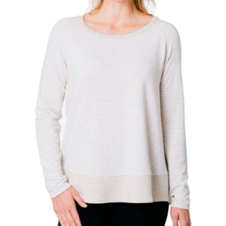 Kersh Ladies French Terry Boat-Neck Sweater Top (Husked Tan Mix/Cream Stripe, Medium)