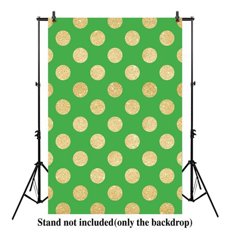 HelloDecor Polyester Fabric 5x7ft photography backdrop background green and Gold Glitter Polka Dot Dots for festival Newborn kids photo drop (Polka Dots Background)