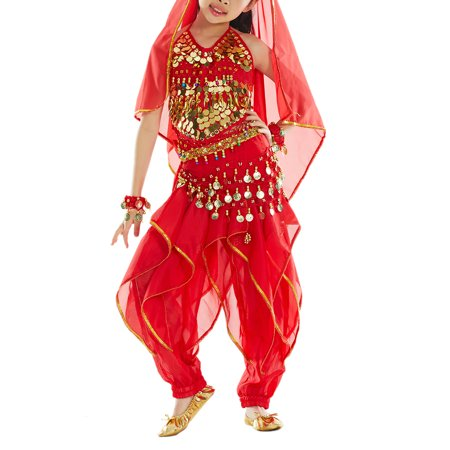 BellyLady Kid Belly Dance Costume, Harem Pants & Halter Top For Christmas-Red-L - Belly Dance Costume