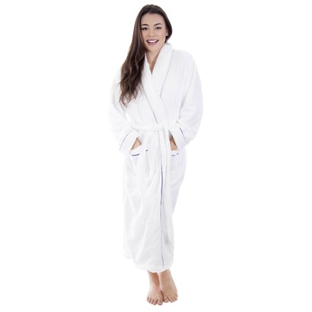 Bath Robe Women's Super Soft Plush Coral Velvet Spa Bathrobe, White/Royal (Lined Velvet Robe)