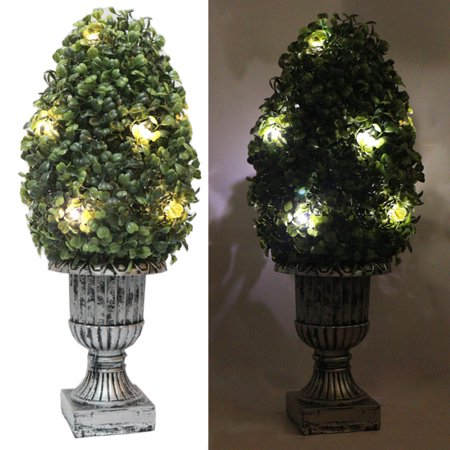 "16"" Decorative Green Artificial Topiary Boxwood Tree Plant in Plastic Pot w/10LED Lights"