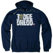 Trevco Judge Dredd-Logo Adult Pull-Over Hoodie, Navy - Medium
