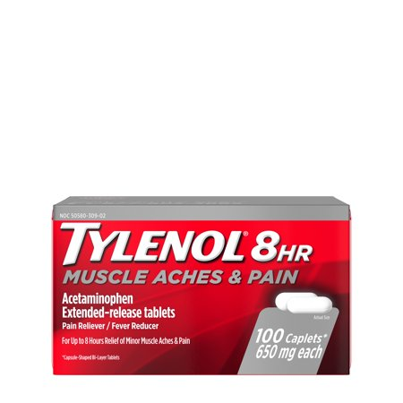 Tylenol 8 Hour Muscle Aches & Pain Tablets with Acetaminophen, 100