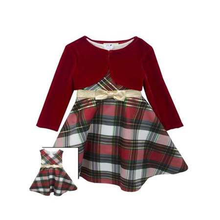 Rare Editions Baby Girls  Plaid Bow and Velvet Jacket Holiday Dress 18 months