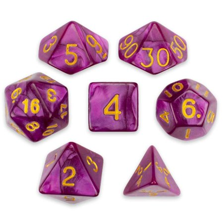 7 Die Polyhedral Dice Set - Abyssal Mist (Hot Pink Pearl) with Velvet Pouch by, A full set of 7 polyhedral dice. Basic adventurer's equpiment! By Wiz