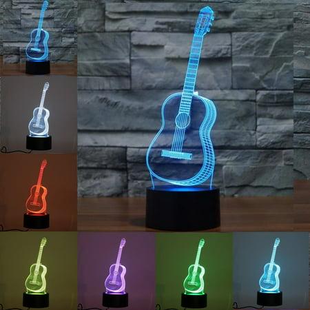 Music Lamp (3D Ukulele Guitar Model Night Light 7 Color Change LED Table Lamp Music Decor )