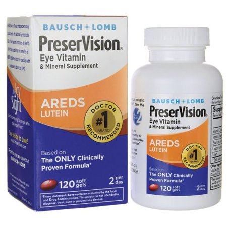 PreserVision AREDS Lutein Eye Vitamin & Mineral Supplement, Beta-Carotene Free, Soft Gels, 120 ct Trace Minerals Vitamins Supplements