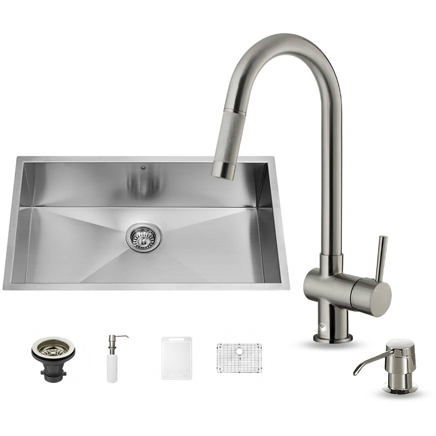 """Vigo All-in-One 30"""" Undermount Stainless Steel Kitchen Sink and Faucet Set"""