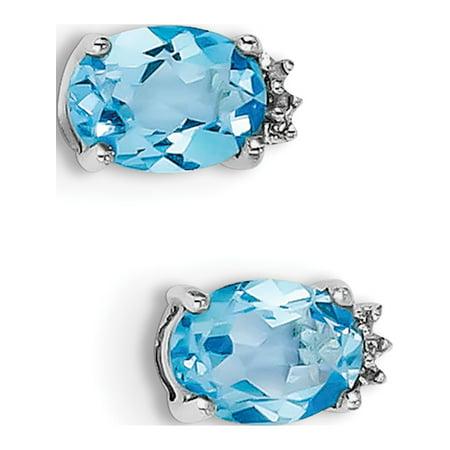 925 Sterling Silver Rhodium Oval SW Blue Topaz & Diamond Post (5x10mm) Earrings - image 2 de 2
