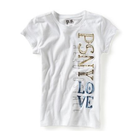 256d0896 p.s.09 from aeropostale - Aeropostale Girls P.S. Psny Love Vertical Graphic  T-Shirt - Walmart.com