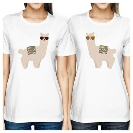 Llamas With Sunglasses Cute Design Best Friend Matching Shirts