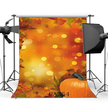 ABPHOTO Polyester 5x7ft Photography Backdrops Halloween Pumpkin Bokeh Halos Twinkle Sequin Autumn Leaves Scene Seamless Newborn Baby Adults Masquerade Portraits Photo Background Photo Studio Props