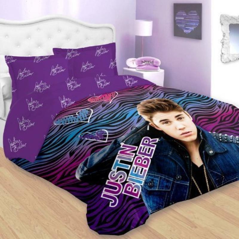 Justin Bieber Blue Pink Zebra Comforter Set Twin Size 2-p...