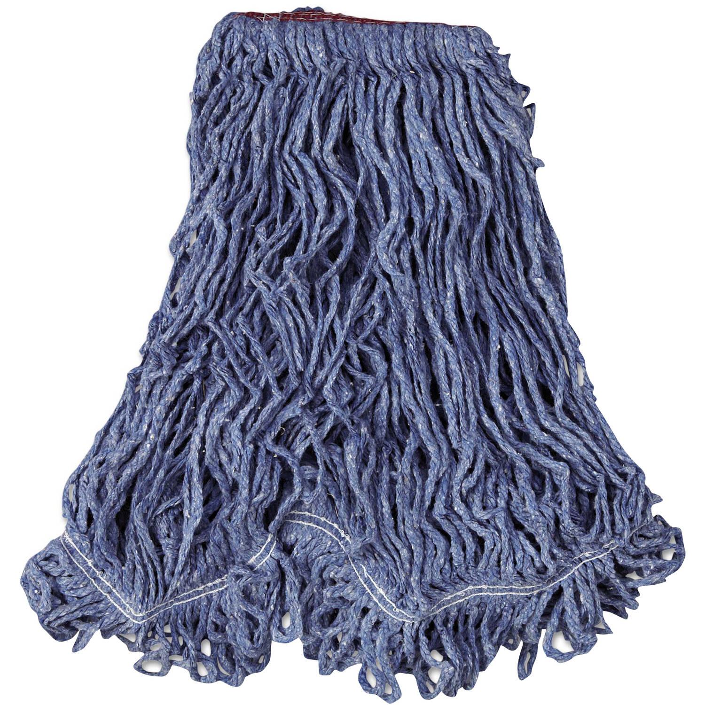 Rubbermaid Commercial Cotton/Synthetic Super Stitch Blend Mop Head, Blue, Large