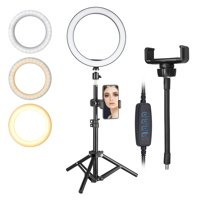 """EEEKit Ring Light, 10"""" Selfie Ring Light with Tripod Stand Phone Holder, 3 Light Modes & 10 Brightness Level, 120 Bulbs Dimmable Circle Ring Light for YouTube Video/Live Stream/Makeup/Vlogging"""