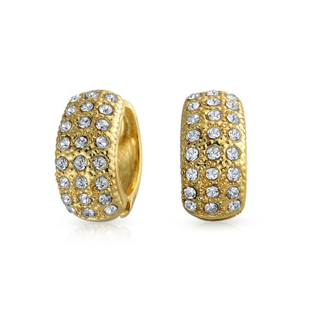Bridal Prom 3 Row Pave Crystal Huggie Hoop Magnetic Clip On Earrings For Women Non Pierced Ears 14K Gold Plated Alloy