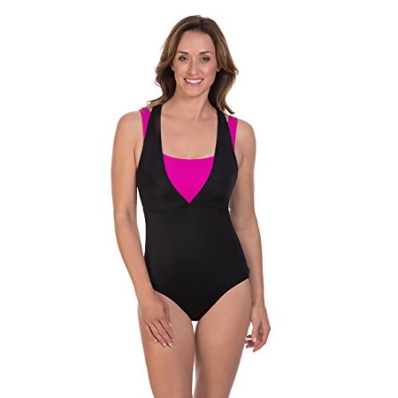 0a928b0b Reebok Women's on the Double Constructed Active One Piece Swimsuit,  Black/Pink, 10