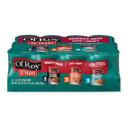(2 pack) Ol' Roy Cuts in Gravy Wet Dog Food Variety Pack: T-Bone, Bacon Cheeseburger and Country Stew, 13.2 oz, 12