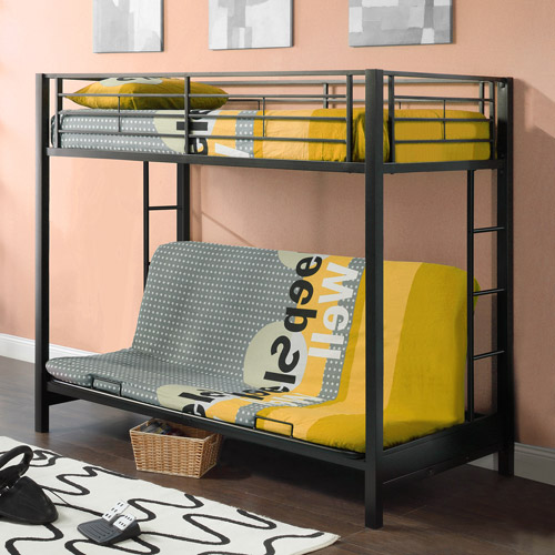 Twin Over Futon Premium Metal Bunk Bed, Black