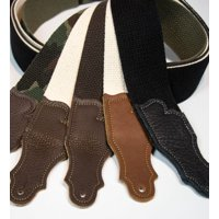Franklin Strap - 2'' cotton - Guitar Strap - Natural with Chocolate End Tab