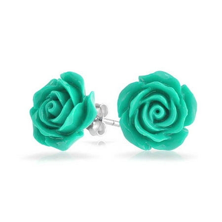 3D Carved Rose Flower Stud Earrings For Women For Teen For Mother Resin Silver Plated Brass More Colors