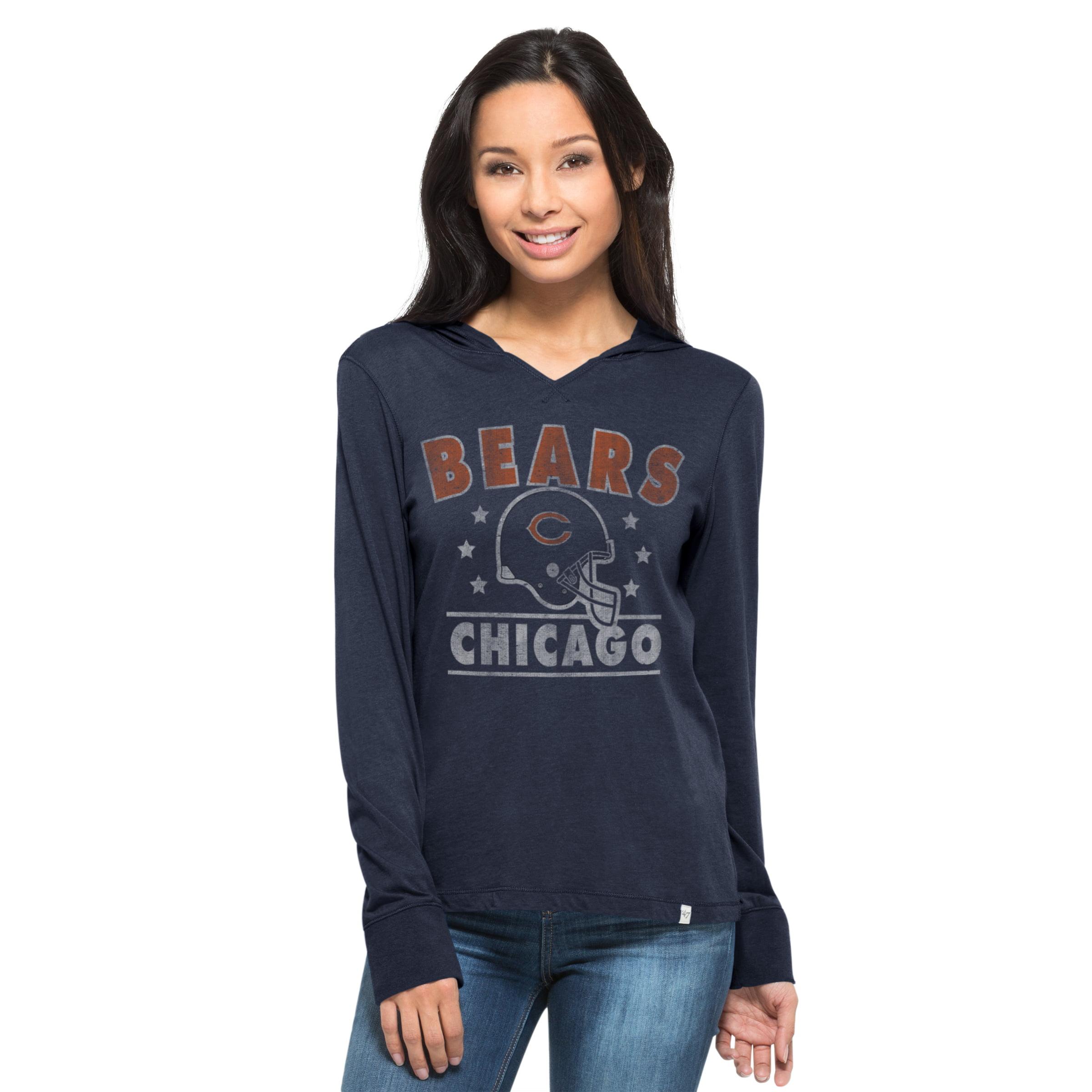 Chicago Bears Rebound Women's Regatta Blue Hooded L S Tee by 47 Brand
