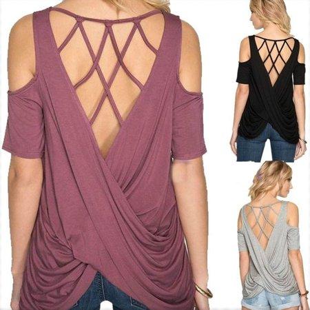 Women's Fashion Casual Short Sleeve Solid Criss Cross Drape Back T-shirt Plus Size Cold Shoulder Tops