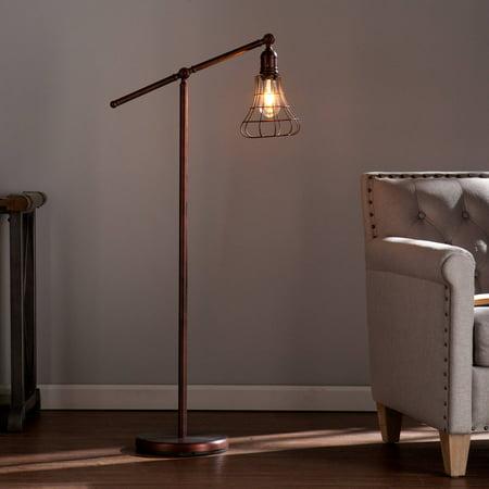 Southern Enterprises Valor Edison Style Floor Lamp, Coppery Brushed (Southern Enterprises Lowie Edison Style Floor Lamp Black)